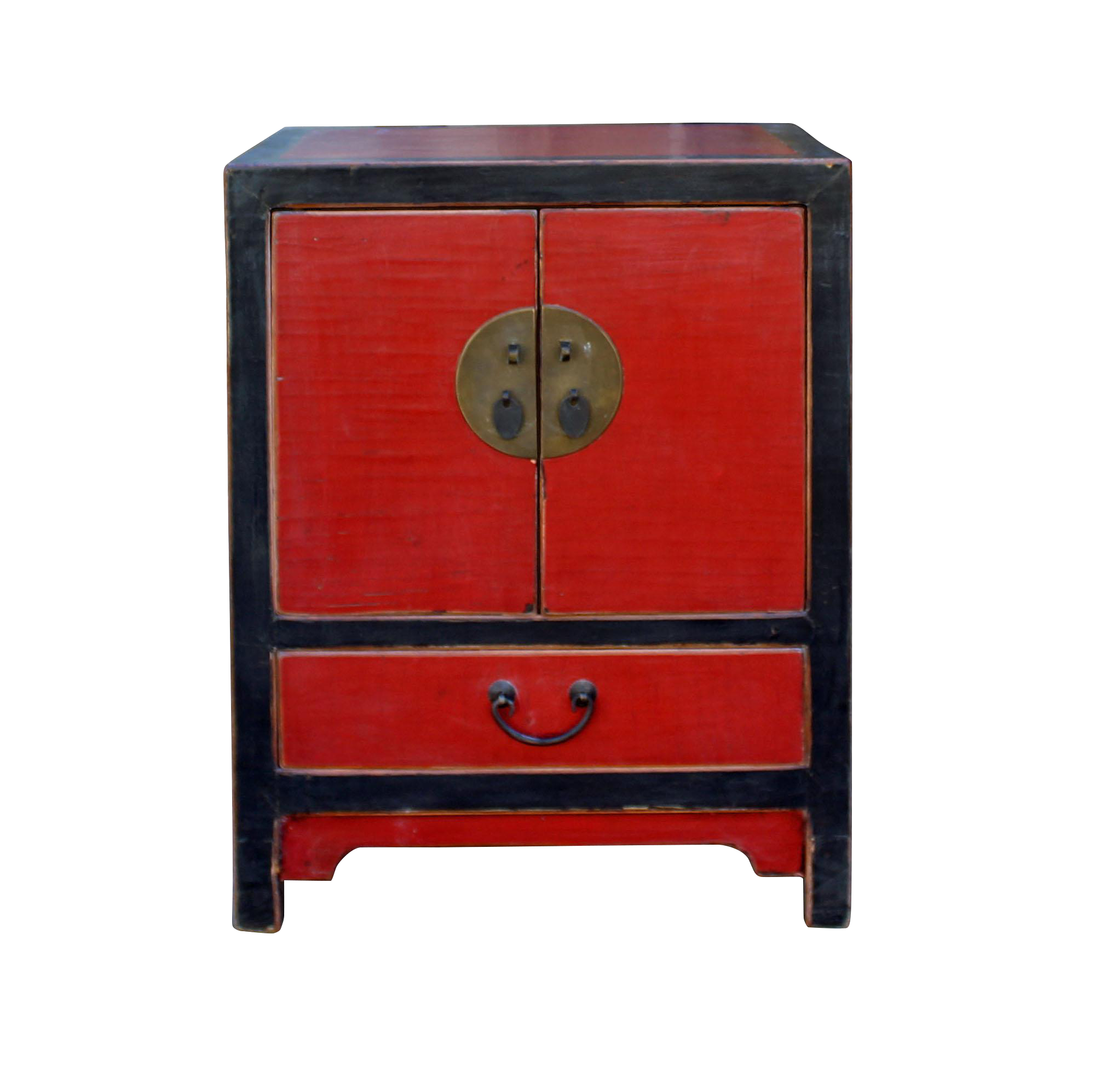 Elegant Chinese Distressed Black Red Lacquer End Table Nightstand Cabinet