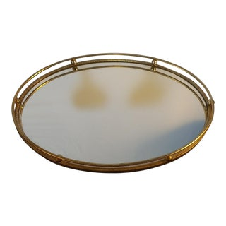 Vintage Brass Surround Mirrored Vanity Tray