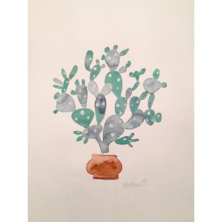 Contemporary Sage Cactus Watercolor Painting