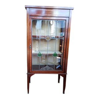 1910 Edwardian Inlay & Stained Glass Display Cabinet