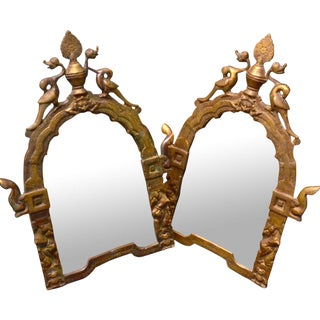 Gilded Brass Temple Mirrors - A Pair