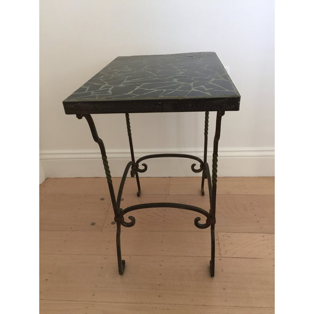 Black Cracked Mosaic Tile Top Iron Side Table - Image 3 of 8