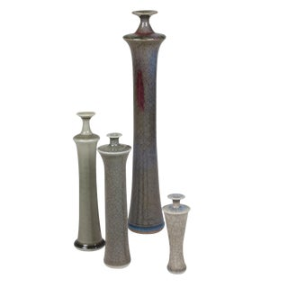 Four Stoneware Bottle Form Vases by Roger Collet