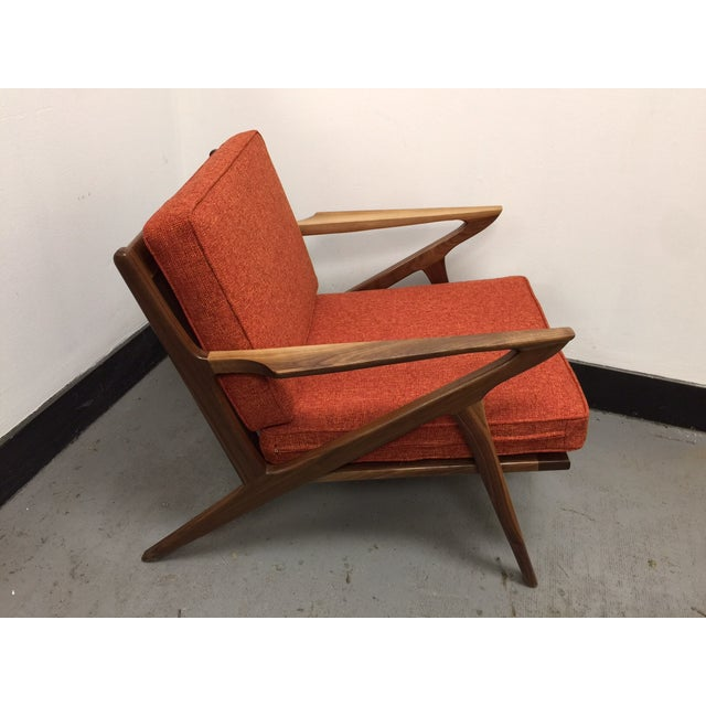 Mid century walnut z lounge chair chairish for Z chair mid century