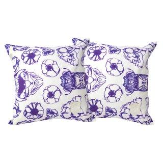 Geometric Floral Linen Pillows - A Pair
