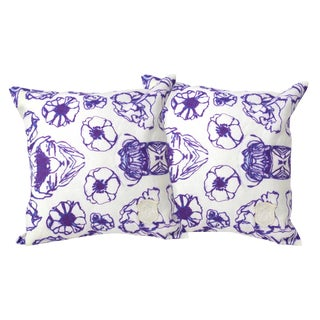 Geometric Floral Linen Pillows - A Pair