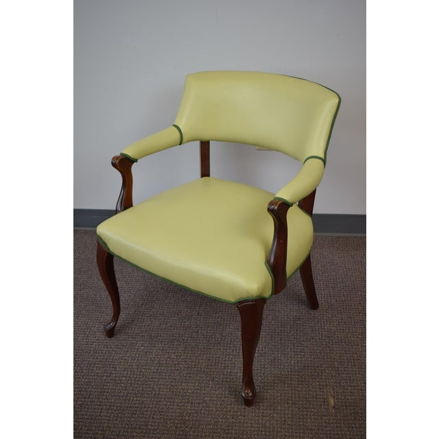 Elegant Set of (4) Celedon Green Leather W Hunter Green Piping Upholstered Bergere Chairs - Image 4 of 10