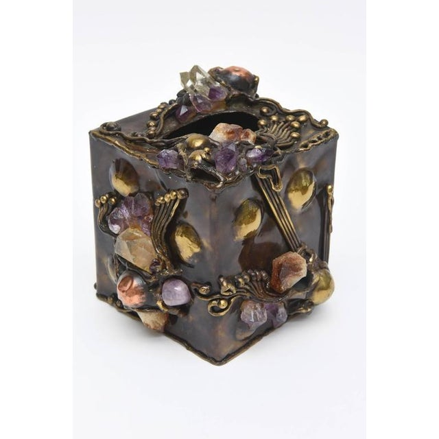 Brutalist Sculptural Mixed Metal and Amethyst, Quartz Tissue Box/ SAT.SALE - Image 3 of 10