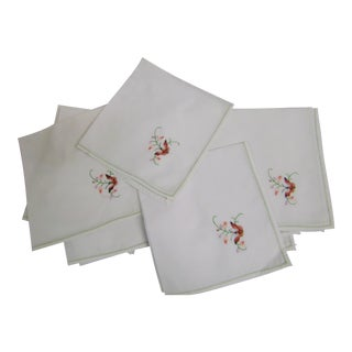 Vintage Cotton Hand Emboidered Napkins - Set of 12