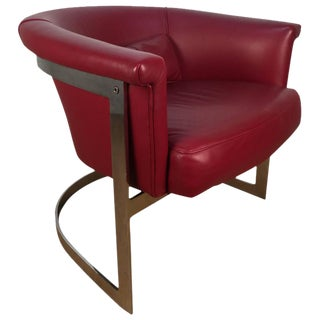 Milo Baughman Chrome and Red Leather Barrel Back Lounge Chair