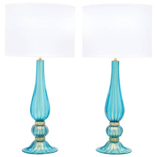 Murano Glass Gold-Flecked Turquoise Lamps - a Pair