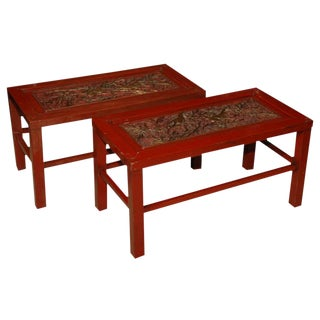 Red Lacquered Chinese Tables - A Pair