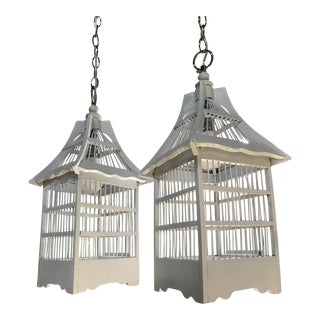 Vintage Refurbished Birdcage Hanging Lights- A Pair