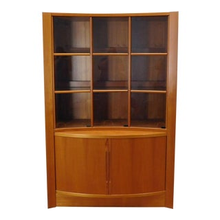1970s Danish Modern Teak Bow Front Tambour & Glass Door China Cabinet