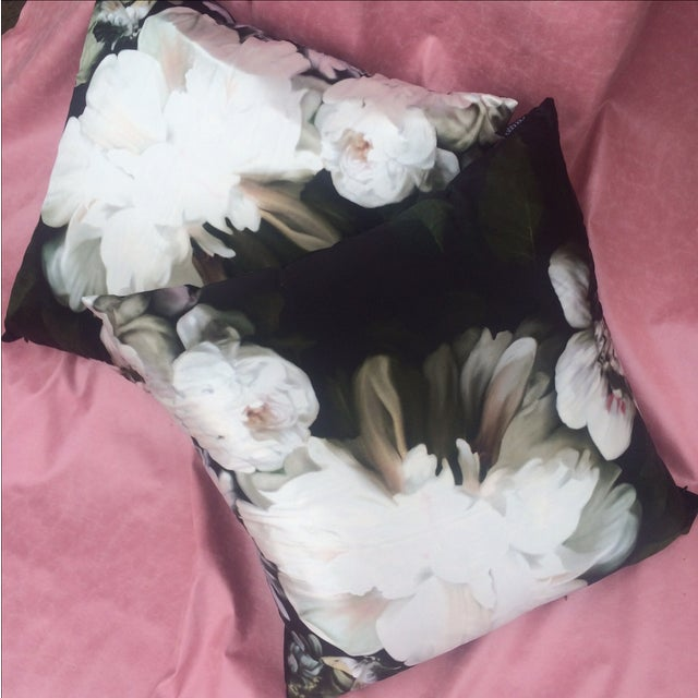 Silk Floral Print Pillows by Ellie - Pair - Image 2 of 5