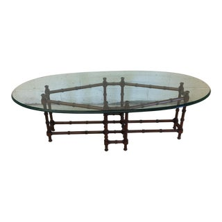 Faux Bamboo Walnut Base & Oval Glass Top Coffee Table