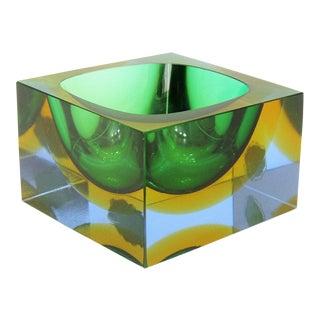 Italian Mandruzzato Murano Tri-Color Glass Bowl