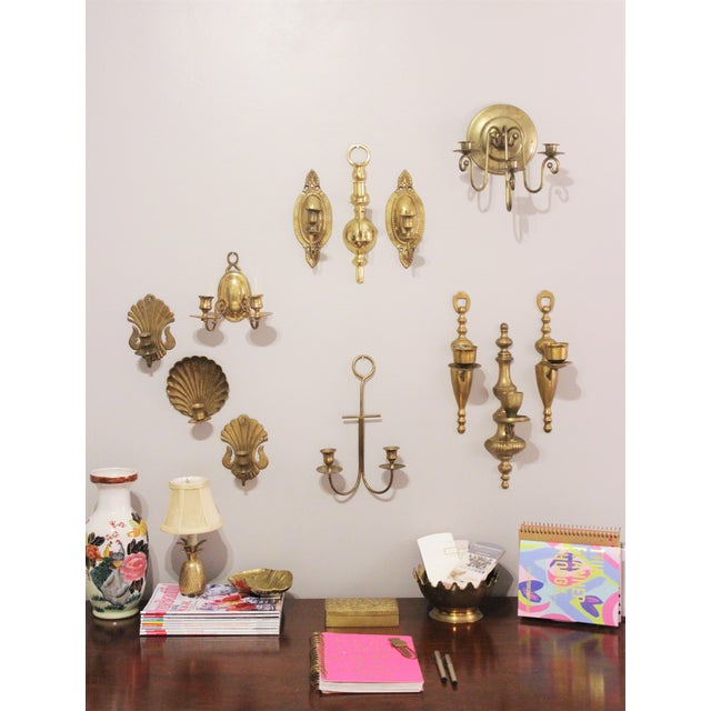 Vintage Brass Wall Sconces - Set of 3 - Image 4 of 6