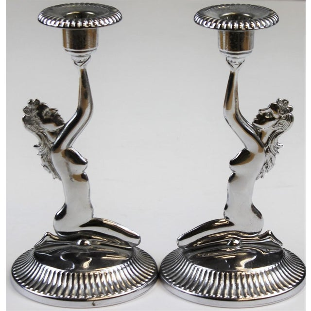 Chrome Naked Lady Candlesticks - A Pair - Image 2 of 4