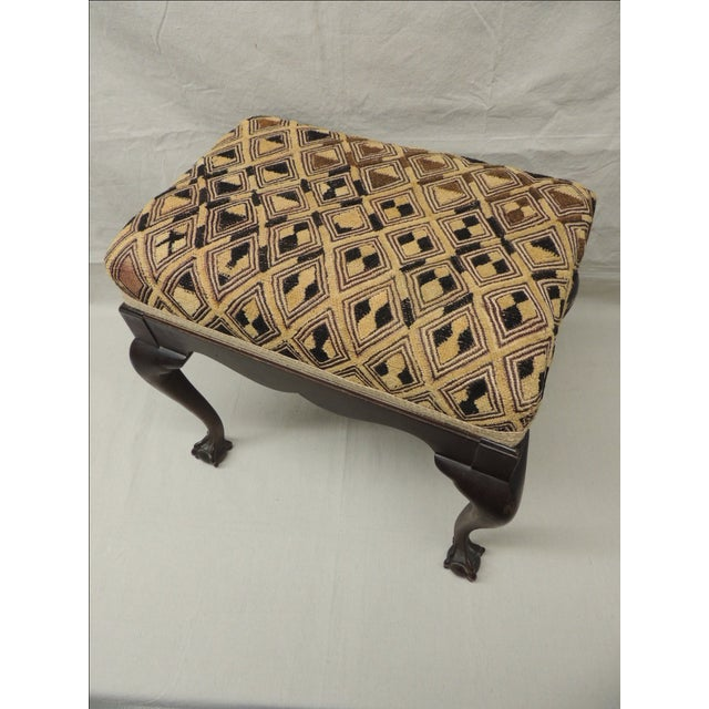 Antique African Textile Upholstered Bench - Image 5 of 5