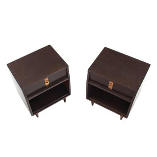 Pair of Ebonized Mid-Century Modern Nightstands