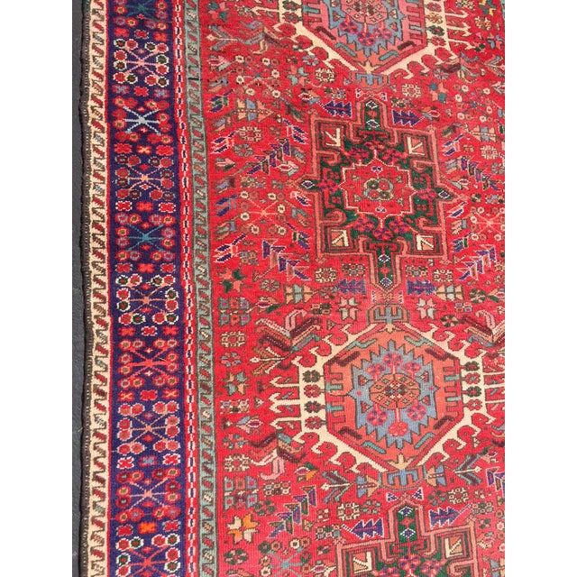 "Vintage Heriz Persian Red Runner - 4'6"" x 12'3"" - Image 8 of 11"