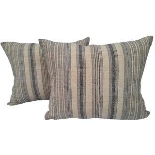 Striped Linen Homespun Pillows - A Pair