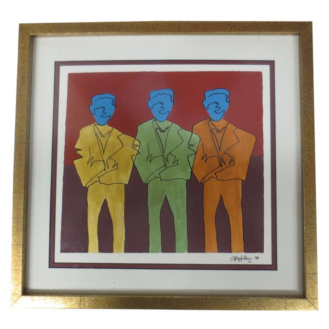 """Image of STS Wiley """"Three Blue Men"""" Ink & Acrylic on Paper"""