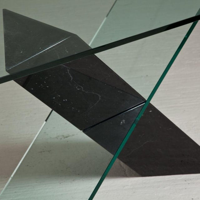 A Black Stone and Glass Console Table designed by Reflex 1980s - Image 3 of 4