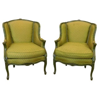 French Green Upholstered Bergères - A Pair