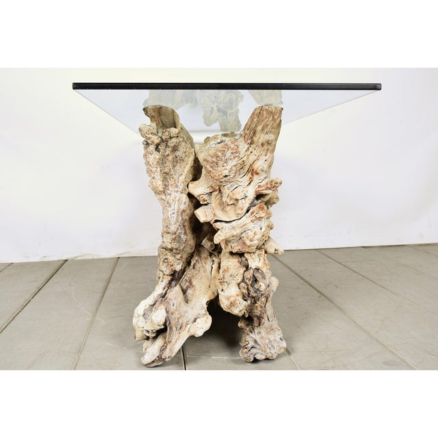 Vintage Tree Root Console Table W/Glass Top - Image 5 of 8