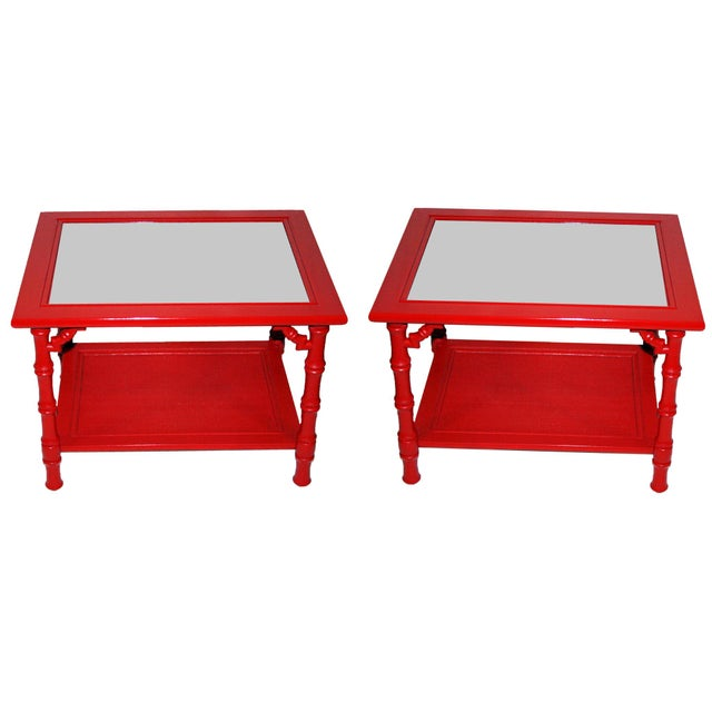Mersman Faux Bamboo Red End Tables - A Pair - Image 1 of 7