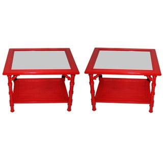 Mersman Faux Bamboo Red End Tables - A Pair