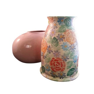 Hand Painted Italian Vase & Mauve Ceramic Oval Vase - A Pair