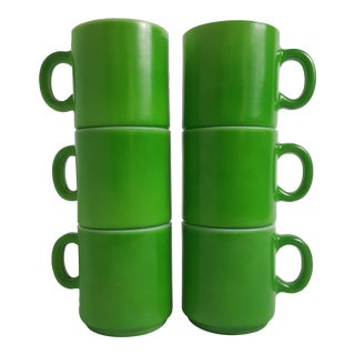 Mid Century Green Cased Stacking Coffee Mugs - Set of 6