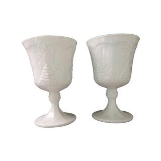 Vintage White Porcelain Goblets - A Pair