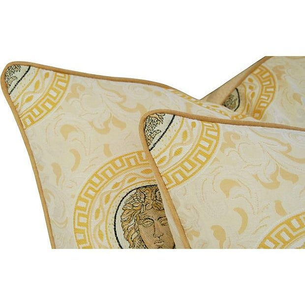 Custom Italian Versace-Style Medusa Pillows - Pair - Image 4 of 9