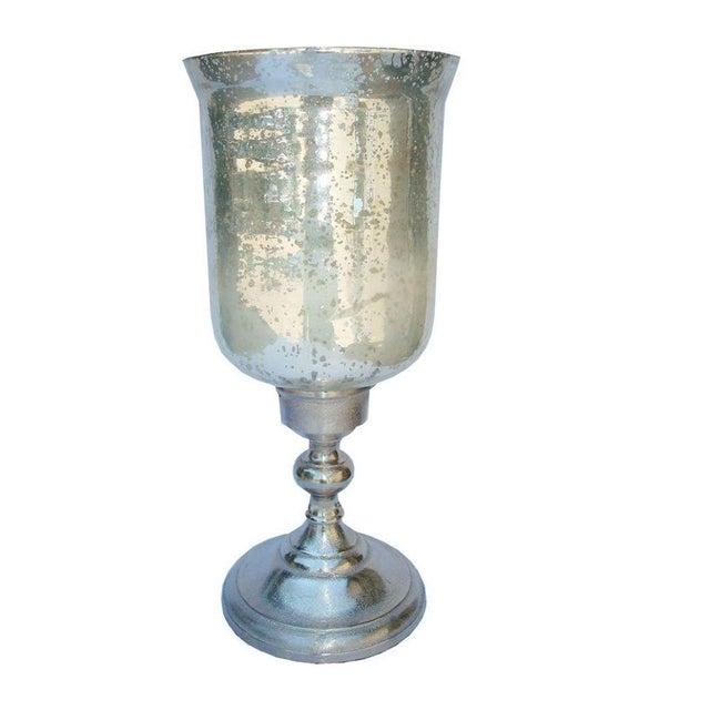 Large Mercury Glass Hurricane Candle Holder - Image 1 of 4