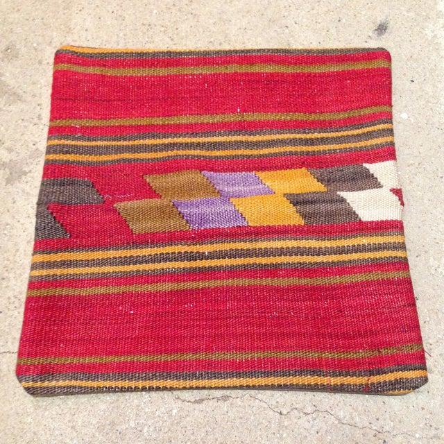Vintage Red Turkish Kilim Pillow - Image 2 of 5