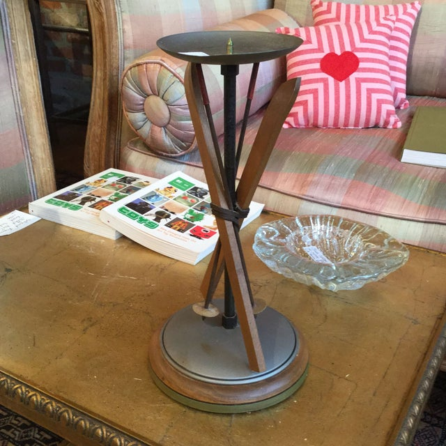 Whimsical Wood and Aluminium Snow Ski Candlesticks - Image 7 of 7