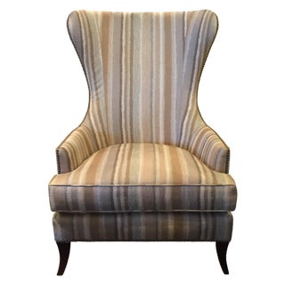 Striped Barrel Back Wing Chair