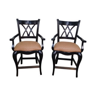 French Country Painted Arm Bar Stools - A Pair