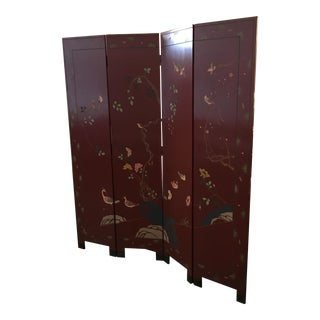 Signed Maitland Smith Four-Panel Asian Themed Wood and Brass Screen