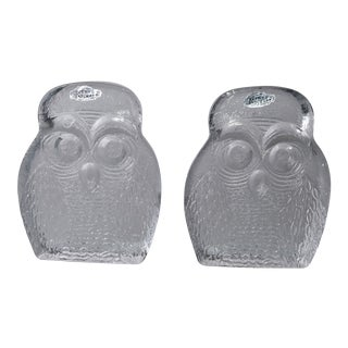 Vintage BLENKO Thick Glass Owl Bookends