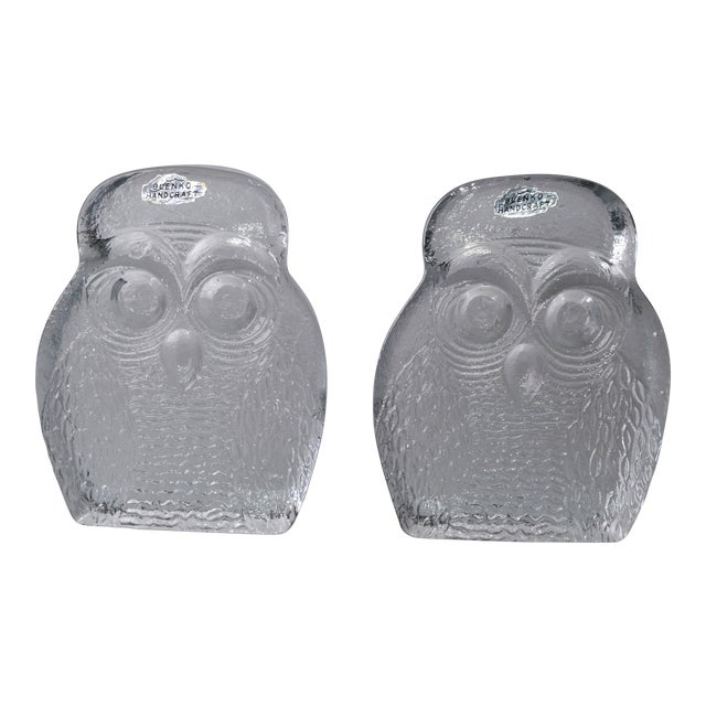 Vintage BLENKO Thick Glass Owl Bookends - Image 1 of 8