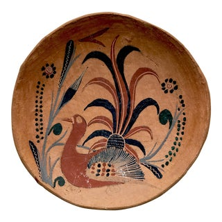 Vintage Terracotta Mexican Hand Painted Bird Themed Pottery Plate, Signed