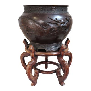 Bronze Fish Bowl Planter With Wooden Stand