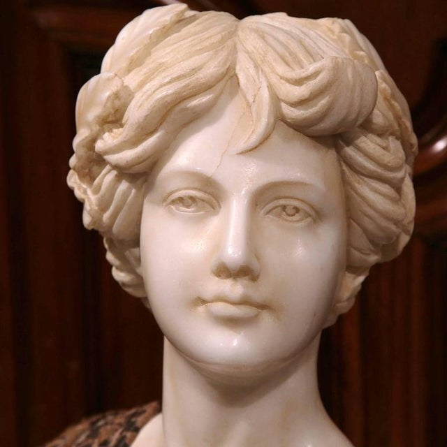 Large 19th Century Italian Carved Marble Bust of Young Lady by Goose - Image 3 of 7