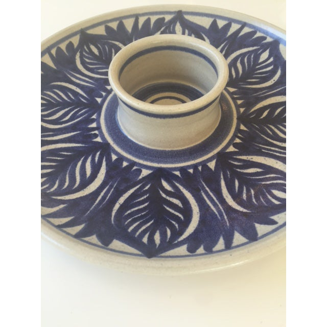 Blue Leaf Painted Stoneware Chip & Dip Serving Dish - Image 3 of 9