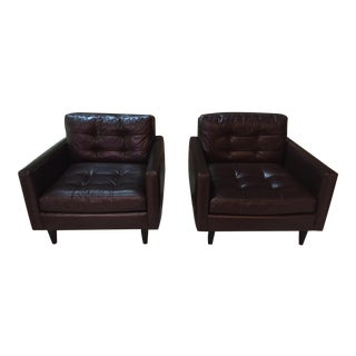 Crate & Barrel Petrie Leather Chairs - A Pair